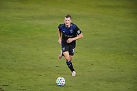 SAN JOSE, CA - OCTOBER 03: Tanner Beason #15 of the San Jose Earthquakes during a game between Los Angeles Galaxy and San Jose Earthquakes at Earthquakes Stadium on October 03, 2020 in San Jose, California.