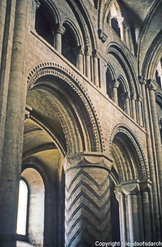 Durham: Durham Cathedral, Nave, Piers and Vaulting. Photo '90.