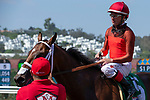 DEL MAR, CA  AUGUST 25:   #5 Tatters to Riches, ridden by Tyler Baze, return to the connections after winning the Shared Belief Stakes, on August 25, 2018 at Del Mar Thoroughbred Club in Del Mar, CA.(Photo by Casey Phillips/Eclipse Sportswire/Getty ImagesGetty Images