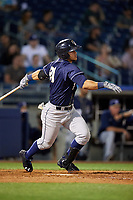 San Antonio Missions pinch hitter Alberth Martinez (21) follows through on a swing during a game against the Tulsa Drillers on June 1, 2017 at ONEOK Field in Tulsa, Oklahoma.  Tulsa defeated San Antonio 5-4 in eleven innings.  (Mike Janes/Four Seam Images)