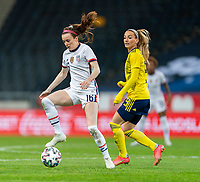 SOLNA, SWEDEN - APRIL 10: Rose Lavelle #16 of the USWNT controls the ball during a game between Sweden and USWNT at Friends Arena on April 10, 2021 in Solna, Sweden.