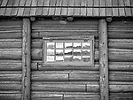 Yellowstone National Park, WY: Reflection in glass panes of barn window and log siding at Lamar Buffalo Ranch in Lamar Valley.