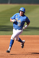 Josh Hahn (32) of the UCLA Bruins during a game against the Cal State Fullerton Titans at Jackie Robinson Stadium on March 6, 2021 in Los Angeles, California. UCLA defeated Cal State Fullerton, 6-1. (Larry Goren/Four Seam Images)