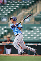 Tampa Bay Rays Carlos Vargas (95) follows through on a swing during an Instructional League game against the Baltimore Orioles on October 2, 2017 at Ed Smith Stadium in Sarasota, Florida.  (Mike Janes/Four Seam Images)