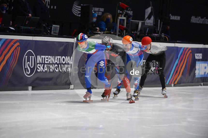 SPEEDSKATING: DORDRECHT: 07-03-2021, ISU World Short Track Speedskating Championships, 3000m Superfinal Men, Pietro Sighel (ITA), Charles Hamelin (CAN), Semen Elistratov (RSU), Shaoang Liu (HUN), ©photo Martin de Jong