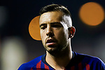 Jordi Alba Ramos of FC Barcelona reacts during the La Liga 2018-19 match between Rayo Vallecano and FC Barcelona at Estadio de Vallecas, on November 03 2018 in Madrid, Spain. Photo by Diego Gouto / Power Sport Images