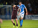 St Johnstone v Hearts…10.08.16..  McDiarmid Park…BetFred Cup<br />Joe Shaughnessy helps Jamie Walker leave the pitch after he is subbed<br />Picture by Graeme Hart.<br />Copyright Perthshire Picture Agency<br />Tel: 01738 623350  Mobile: 07990 594431