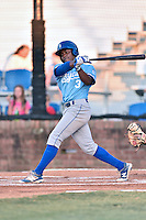 Burlington Royals left fielder Jonathan McCray (3) swings at a pitch during Game Two of the Appalachian League Championship series against the Johnson City Cardinals at TVA Credit Union Ballpark on September 7, 2016 in Johnson City, Tennessee. The Cardinals defeated the Royals 11-6 to win the series 2-0.. (Tony Farlow/Four Seam Images)