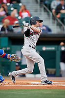 Scranton/Wilkes-Barre RailRiders left fielder Tyler Wade (23) follows through on a swing during a game against the Buffalo Bisons on May 18, 2018 at Coca-Cola Field in Buffalo, New York.  Buffalo defeated Scranton 5-1.  (Mike Janes/Four Seam Images)