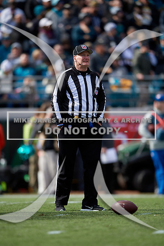 Umpire Bill Schuster during an NFL Wild-Card football game between the Buffalo Bills and Jacksonville Jaguars, Sunday, January 7, 2018, in Jacksonville, Fla.  (Mike Janes Photography)