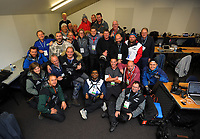 Lions series photographers in the photographers' room before the 2017 DHL Lions Series 2nd test rugby match between the NZ All Blacks and British & Irish Lions at Westpac Stadium in Wellington, New Zealand on Saturday, 1 July 2017. Photo: Dave Lintott / lintottphoto.co.nz