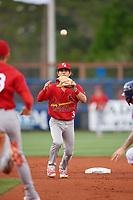 Palm Beach Cardinals shortstop Kramer Robertson (3) waits to receive a throw while chasing a runner in a rundown during a game against the Charlotte Stone Crabs on April 21, 2018 at Charlotte Sports Park in Port Charlotte, Florida.  Charlotte defeated Palm Beach 5-2.  (Mike Janes/Four Seam Images)
