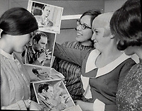 Trudeau fans Barbara Hook; 22 (left); Pat Erickson; 22 (centre); and Patty Carroll; 22; will cast votes for the first time June 25 1968 and the Liberals will get them because of the PM.<br /> <br /> Photo : Boris Spremo - Toronto Star archives - AQP