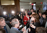 Nathalie Normandeau is surrounded by journalists during a scrum at the National Assembly in Quebec City March 17, 2010. Normandeau is current MNA for the riding of Bonaventure in the Gaspesie region and current Deputy Premier of the province and a member of the Quebec Liberal Party.<br /> <br /> PHOTO :  Francis Vachon - Agence Quebec Presse