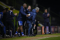 Celebrations at full time from Barrow during the Sky Bet League 2 match between Forest Green Rovers and Barrow at The New Lawn, Nailsworth on Tuesday 27th April 2021. (Credit: Prime Media Images I MI News)