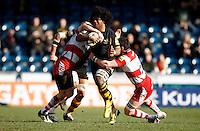 Photo: Richard Lane/Richard Lane Photography. London Wasps v Gloucester Rugby. Aviva Premiership. 17/02/2013. Wasps' Ashley Johnson attacks.