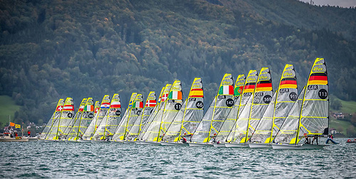The Lake Attersee fleet line up for a 49er Euros start Photo: Tobias Stoerkle