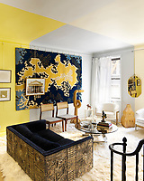 A 1939 Art Deco apartment is the backdrop for an eclectic mix of vintage twentieth- century furniture, contemporary art and family heirlooms. An abstract paint pattern in the living room is informed by the path of sunlight across the walls and ceiling.