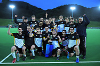 Harbour City celebrates winning the 2021 Wellington premier one men's hockey final between Harbour City and Hutt United at National Hockey Stadium in Wellington, New Zealand on Saturday, 14 August 2021. Photo: Dave Lintott / lintottphoto.co.nz