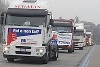 - Milan, hundreds of truck has gathered on S.Siro stadium square for the protest of the haulers against the financial law of government..- Milano, centinaia di camion si sono radunati sul piazzale dello stadio di S.Siro per la protesta degli autotrasportatori contro la legge finanziaria del governo