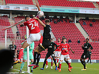 Ryan Inniss of Charlton Athletic misses the cross during Charlton Athletic vs Plymouth Argyle, Emirates FA Cup Football at The Valley on 7th November 2020
