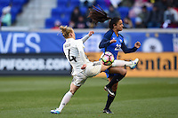 Harrison, NJ - Saturday, March 04, 2017: Leonie Maier, Sakina Karchaoui during a SheBelieves Cup match between the women's national teams of France (FRA) and Germany (GER) at Red Bull Arena.