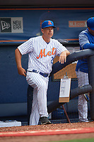 St. Lucie Mets manager Chad Kreuter (29) in the dugout during the first game of a doubleheader against the Charlotte Stone Crabs on April 24, 2018 at First Data Field in Port St. Lucie, Florida.  St. Lucie defeated Charlotte 5-3.  (Mike Janes/Four Seam Images)