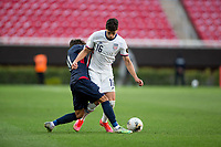 ZAPOPAN, MEXICO - MARCH 21: Johnny Cardoso #16 of the United States moves with the ball during a game between Dominican Republic and USMNT U-23 at Estadio Akron on March 21, 2021 in Zapopan, Mexico.