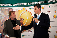 6-1-10, Rotterdam, Tennis, Persconferentie ABNAMROWTT, Toernooidirecteur Richard Krajicek kondigt het spelersveld aan, links Edward van Cuilenborg