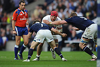 James Haskell of England is stopped by Hamish Watson and Jonny Gray of Scotland during the RBS 6 Nations match between England and Scotland at Twickenham Stadium on Saturday 11th March 2017 (Photo by Rob Munro/Stewart Communications)