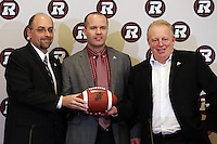 Marcel Desjardins GM Rick Campbell Head Coach Jeff Hunt President Ottawa RedBlacks 2013. Photo Scott Grant
