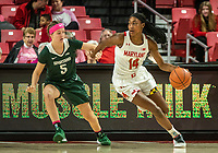 COLLEGE PARK, MD - FEBRUARY 03: Diamond Miller #14 of Maryland dribbles past Claire Hendrickson #5 of Michigan State during a game between Michigan State and Maryland at Xfinity Center on February 03, 2020 in College Park, Maryland.