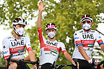 David De La Cruz (ESP), Tadej Pogacar (SLO) and Alexander Kristoff (NOR) UAE Team Emirates at sign on before the start of Stage 9 of Tour de France 2020, running 153km from Pau to Laruns, France. 6th September 2020. <br /> Picture: ASO/Alex Broadway   Cyclefile<br /> All photos usage must carry mandatory copyright credit (© Cyclefile   ASO/Alex Broadway)