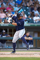 Mikie Mahtook (3) of the Toledo Mud Hens at bat against the Charlotte Knights at BB&T BallPark on June 22, 2018 in Charlotte, North Carolina. The Mud Hens defeated the Knights 4-0.  (Brian Westerholt/Four Seam Images)