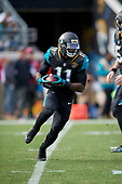 Jacksonville Jaguars Marqise Lee (11) rushes during an NFL Wild-Card football game against the Buffalo Bills, Sunday, January 7, 2018, in Jacksonville, Fla.  (Mike Janes Photography)