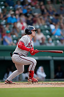 Jesse Franklin V (33) of the Rome Braves in a game against the Greenville Drive on Friday, August 6, 2021, at Fluor Field at the West End in Greenville, South Carolina. (Tom Priddy/Four Seam Images)