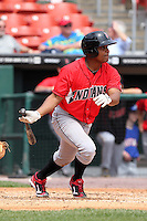 Indianapolis Indians second baseman Anderson Hernandez #12 during a game against the Buffalo Bisons at Coca-Cola Field on May 22, 2012 in Buffalo, New York.  Indianapolis defeated Buffalo 6-3.  (Mike Janes/Four Seam Images)