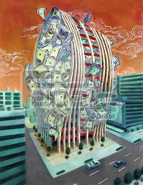 Financial building filled with cash about to burst