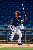 Mississippi Braves Drew Waters (3) during a Southern League game against the Jacksonville Jumbo Shrimp on May 5, 2019 at Trustmark Park in Pearl, Mississippi.  Mississippi defeated Jacksonville 1-0 in ten innings.  (Mike Janes/Four Seam Images)