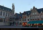Burg Square at Dawn, Basilica of the Holy Blood, Bruges, Brugge, Belgium
