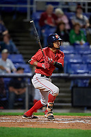 Portland Sea Dogs second baseman Deiner Lopez (24) hits a triple and drives in a run during a game against the Binghamton Rumble Ponies on August 31, 2018 at NYSEG Stadium in Binghamton, New York.  Portland defeated Binghamton 4-1.  (Mike Janes/Four Seam Images)