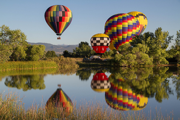 Getty Images similar to 1514, Hot air balloon and reflection in lake, Boulder, Colorado, USA.