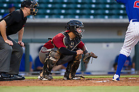 AZL Diamondbacks catcher Jose Herrera (23) on defense against the AZL Cubs on August 11, 2017 at Sloan Park in Mesa, Arizona. AZL Cubs defeated the AZL Diamondbacks 7-3. (Zachary Lucy/Four Seam Images)