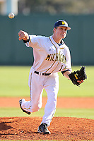 Ryan Kopf #14 of the Michigan Wolverines during the Big East-Big Ten Challenge vs. the St. John's Red Storm at Al Lang Field in St. Petersburg, Florida;  February 19, 2011.  St. John's defeated Michigan 13-6.  Photo By Mike Janes/Four Seam Images