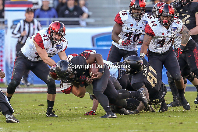 Army Black Knights quarterback Ahmad Bradshaw (17) in action during the Armed Forces Bowl game between the San Diego State Aztecs and the Army Black Knights at the Amon G. Carter Stadium in Fort Worth, Texas.