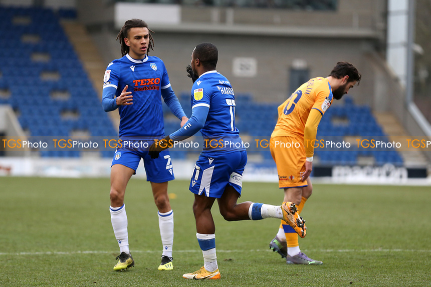 Callum Harriott of Colchester United scores the first goal for his team and celebrates during Colchester United vs Mansfield Town, Sky Bet EFL League 2 Football at the JobServe Community Stadium on 14th February 2021