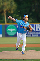 Myrtle Beach Pelicans pitcher Trevor Clifton (29) on the mound during a game against the Salem Red Sox at Ticketreturn.com Field at Pelicans Ballpark on April 10, 2016 in Myrtle Beach, South Carolina. Salem defeated Myrtle Beach 4-3. (Robert Gurganus/Four Seam Images)