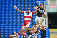 Declan Danaher of London Irish out jumps Jim Hamilton of Gloucester Rugby in the lineout during the Aviva Premiership match between London Irish and Gloucester Rugby at the Madejski Stadium on Saturday 8th September 2012 (Photo by Rob Munro)