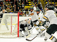 5 February 2011: University of Vermont Catamount forward Matt White (19), a Freshman from McMurray, PA celebrates Vermont's 6th goal against the Providence College Friars at Gutterson Fieldhouse in Burlington, Vermont. The Catamounts defeated the Friars 7-1 in the second game of their weekend series. Mandatory Credit: Ed Wolfstein Photo