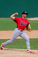 Peoria Chiefs pitcher Steven Farinaro (18) delivers a pitch during a Midwest League game against the Beloit Snappers on April 15, 2017 at Pohlman Field in Beloit, Wisconsin.  Beloit defeated Peoria 12-0. (Brad Krause/Four Seam Images)